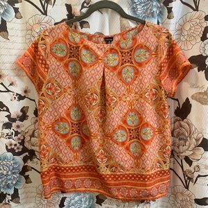 Size Medium Orange Geometric Loose Fitting Blouse